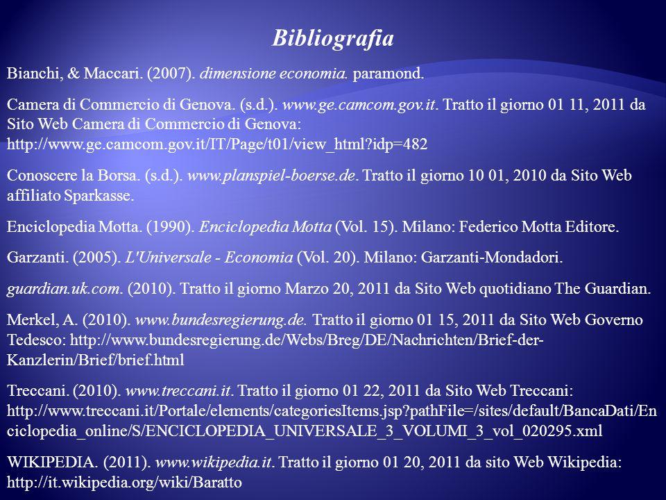 Bibliografia Bianchi, & Maccari.(2007). dimensione economia.