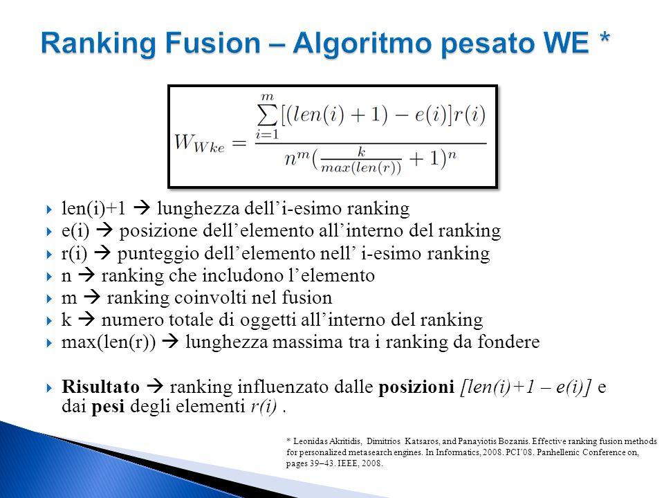  len(i)+1  lunghezza dell'i-esimo ranking  e(i)  posizione dell'elemento all'interno del ranking  r(i)  punteggio dell'elemento nell' i-esimo ranking  n  ranking che includono l'elemento  m  ranking coinvolti nel fusion  k  numero totale di oggetti all'interno del ranking  max(len(r))  lunghezza massima tra i ranking da fondere  Risultato  ranking influenzato dalle posizioni [len(i)+1 – e(i)] e dai pesi degli elementi r(i).