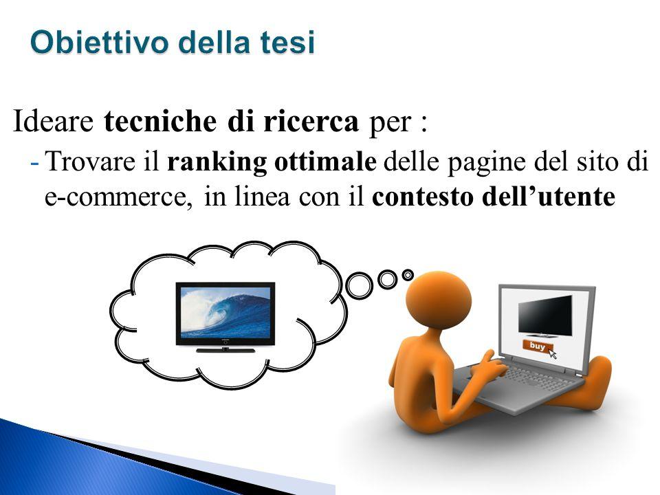 Ideare tecniche di ricerca per : -Trovare il ranking ottimale delle pagine del sito di e-commerce, in linea con il contesto dell'utente