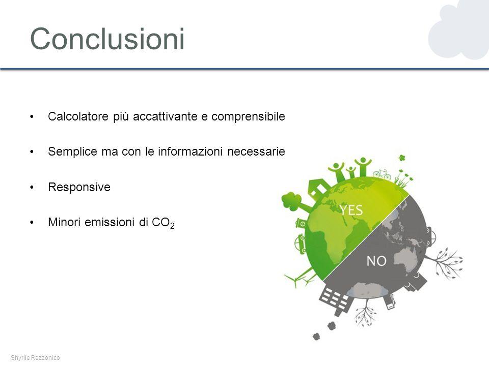Conclusioni Shyrlie Rezzonico Calcolatore più accattivante e comprensibile Semplice ma con le informazioni necessarie Responsive Minori emissioni di CO 2