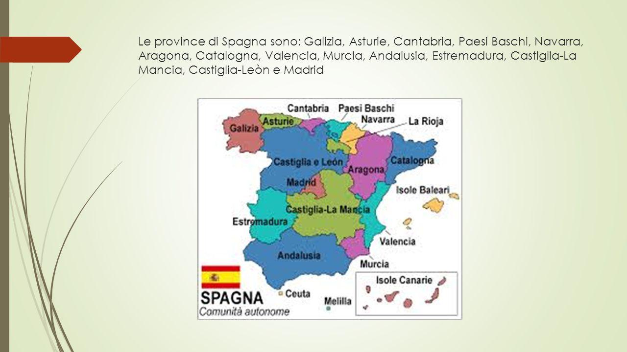 Le province di Spagna sono: Galizia, Asturie, Cantabria, Paesi Baschi, Navarra, Aragona, Catalogna, Valencia, Murcia, Andalusia, Estremadura, Castigli