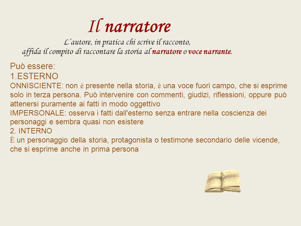 Il narratore L'autore, in pratica chi scrive il racconto, affida il compito di raccontare la storia al narratore o voce narrante. Può essere: 1.ESTERN