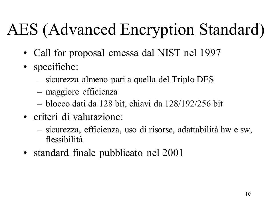 10 AES (Advanced Encryption Standard) Call for proposal emessa dal NIST nel 1997 specifiche: –sicurezza almeno pari a quella del Triplo DES –maggiore