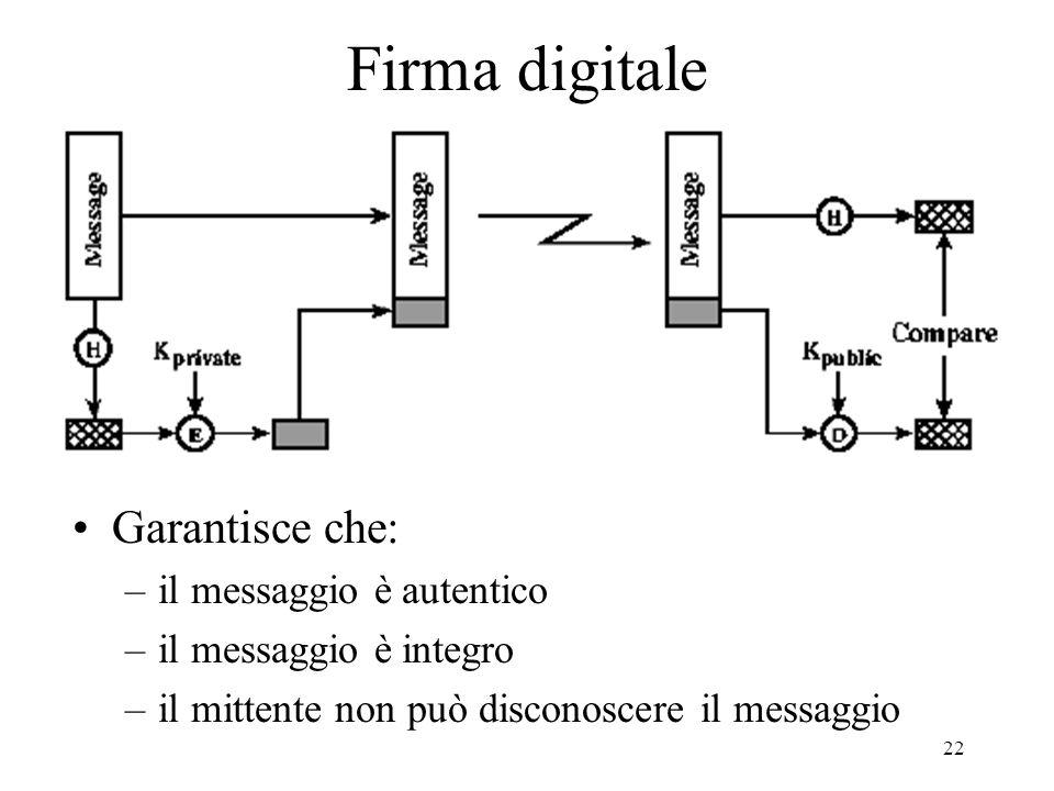 22 Firma digitale Garantisce che: –il messaggio è autentico –il messaggio è integro –il mittente non può disconoscere il messaggio