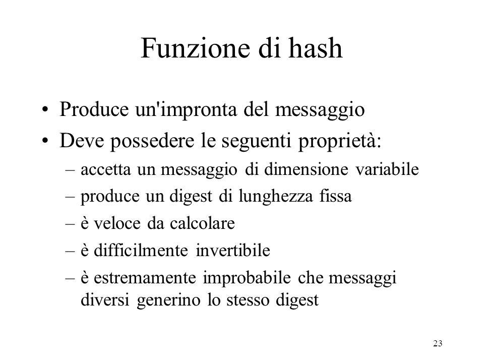 23 Funzione di hash Produce un'impronta del messaggio Deve possedere le seguenti proprietà: –accetta un messaggio di dimensione variabile –produce un
