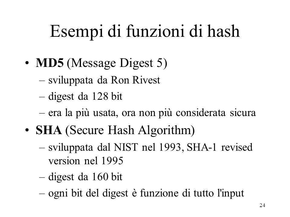 24 Esempi di funzioni di hash MD5 (Message Digest 5) –sviluppata da Ron Rivest –digest da 128 bit –era la più usata, ora non più considerata sicura SH