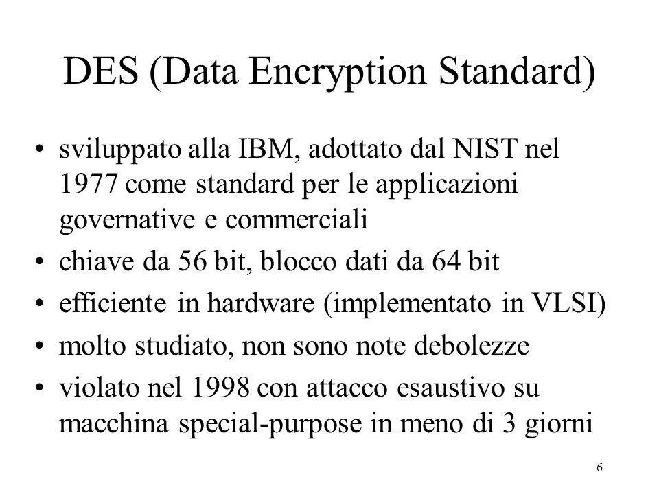 6 DES (Data Encryption Standard) sviluppato alla IBM, adottato dal NIST nel 1977 come standard per le applicazioni governative e commerciali chiave da