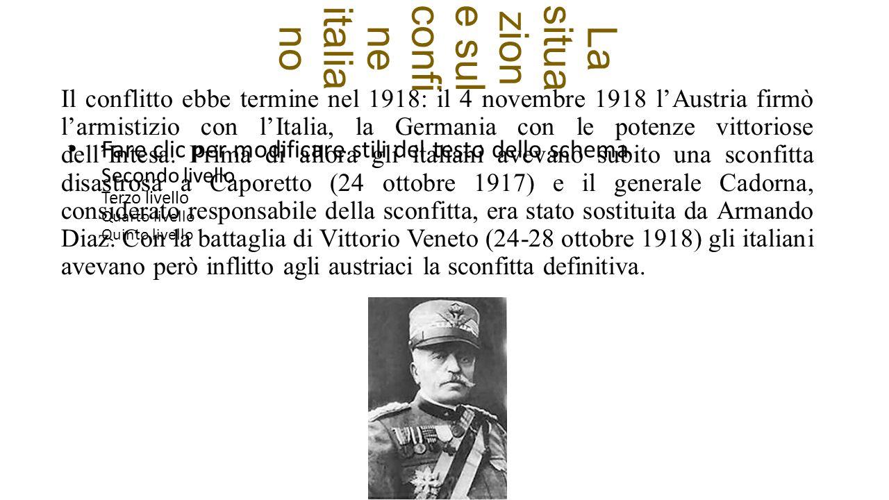 Fare clic per modificare stili del testo dello schema Secondo livello Terzo livello Quarto livello Quinto livello La situa zion e sulconfi ne italia no Il conflitto ebbe termine nel 1918: il 4 novembre 1918 l'Austria firmò l'armistizio con l'Italia, la Germania con le potenze vittoriose dell'Intesa.