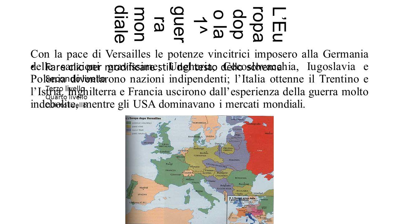 Fare clic per modificare stili del testo dello schema Secondo livello Terzo livello Quarto livello Quinto livello L'Europa dop o la 1^ guer ra mon diale Con la pace di Versailles le potenze vincitrici imposero alla Germania delle sanzioni gravissime; Ungheria, Cecoslovacchia, Iugoslavia e Polonia diventarono nazioni indipendenti; l'Italia ottenne il Trentino e l'Istria.