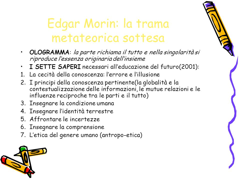 Edgar Morin: la trama metateorica sottesa OLOGRAMMA: la parte richiama il tutto e nella singolarità si riproduce l'essenza originaria dell'insieme I S