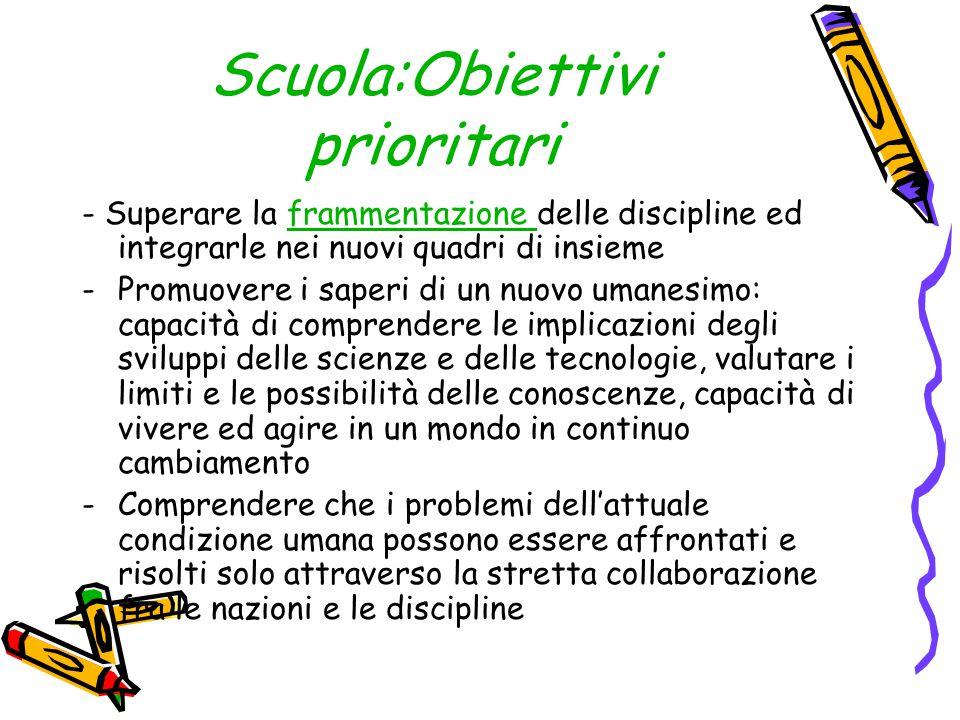Scuola:Obiettivi prioritari - Superare la frammentazione delle discipline ed integrarle nei nuovi quadri di insiemeframmentazione -Promuovere i saperi
