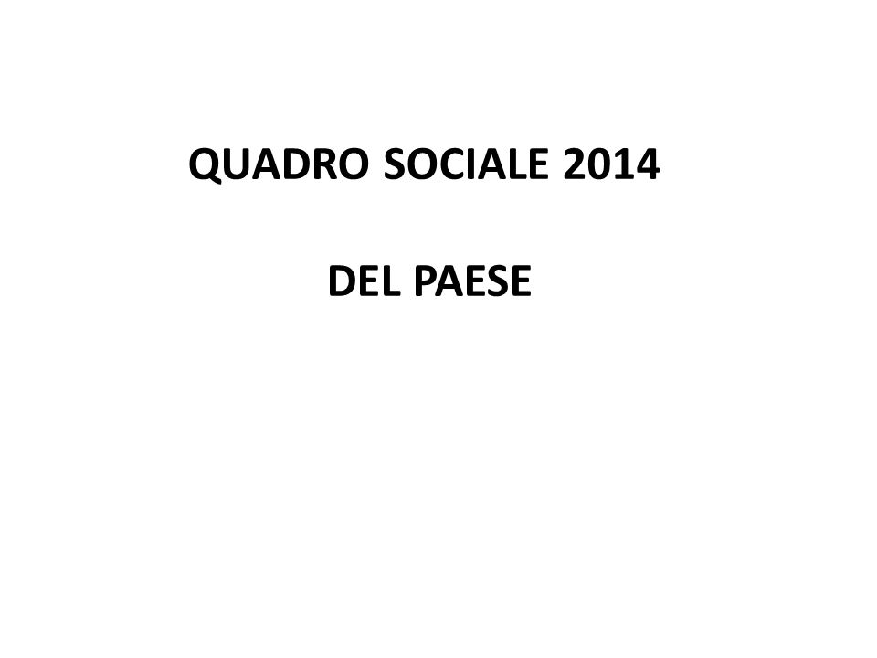 QUADRO SOCIALE 2014 DEL PAESE