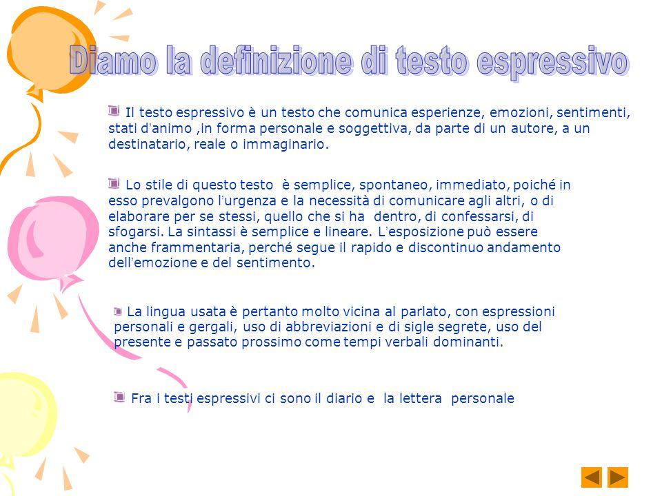 Il testo espressivo è un testo che comunica esperienze, emozioni, sentimenti, stati d ' animo,in forma personale e soggettiva, da parte di un autore, a un destinatario, reale o immaginario.
