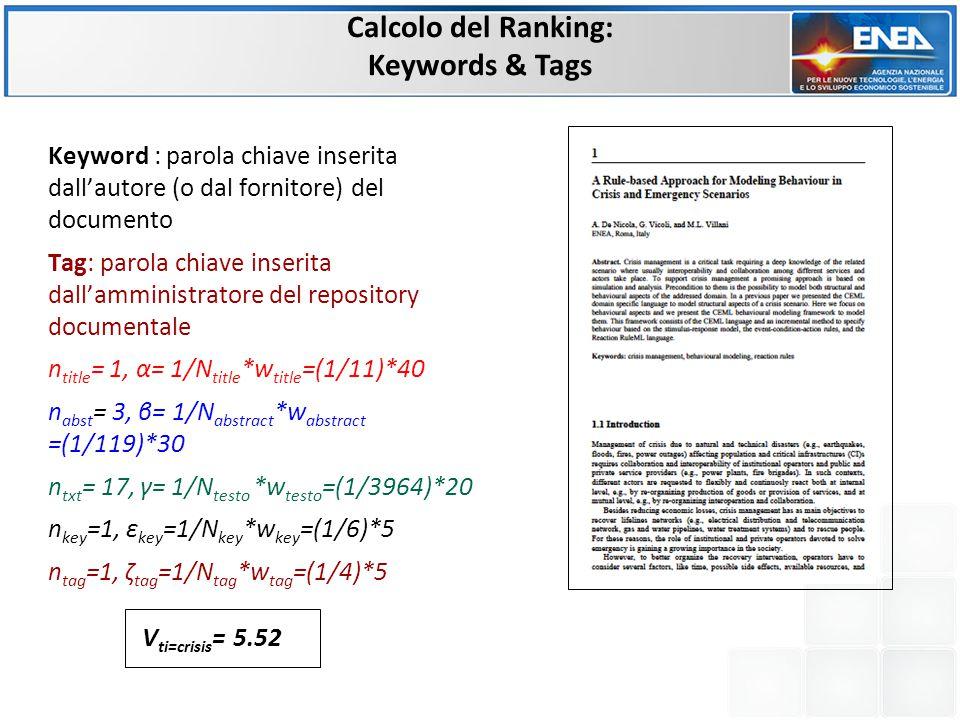 Calcolo del Ranking: Keywords & Tags Keyword : parola chiave inserita dall'autore (o dal fornitore) del documento Tag: parola chiave inserita dall'amministratore del repository documentale n title = 1, α= 1/N title *w title =(1/11)*40 n abst = 3, β= 1/N abstract *w abstract =(1/119)*30 n txt = 17, γ= 1/N testo *w testo =(1/3964)*20 n key =1, ε key =1/N key *w key =(1/6)*5 n tag =1, ζ tag =1/N tag *w tag =(1/4)*5 V ti=crisis = 5.52