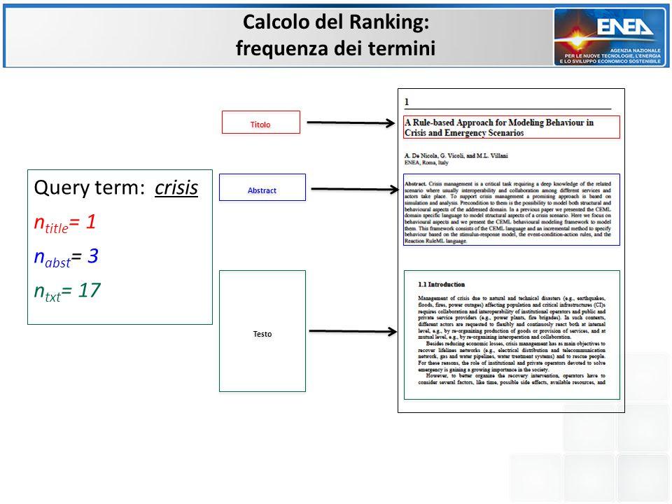 Calcolo del Ranking: assegnazione dei pesi Titolo Abstract Testo Query term: crisis α= 1/N title *w title =(1/11)*4 0 β= 1/N abstract *w abstract =(1/119)*30 γ= 1/N testo *w testo =(1/3964)*20