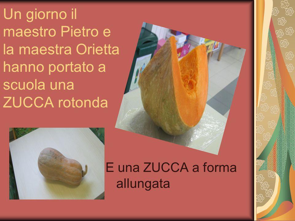 Un giorno il maestro Pietro e la maestra Orietta hanno portato a scuola una ZUCCA rotonda E una ZUCCA a forma allungata