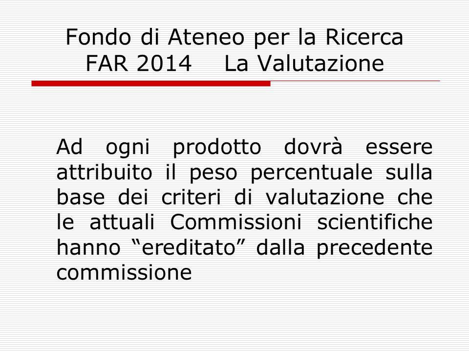 Fondo di Ateneo per la Ricerca FAR 2014 La Valutazione Ad ogni prodotto dovrà essere attribuito il peso percentuale sulla base dei criteri di valutazione che le attuali Commissioni scientifiche hanno ereditato dalla precedente commissione