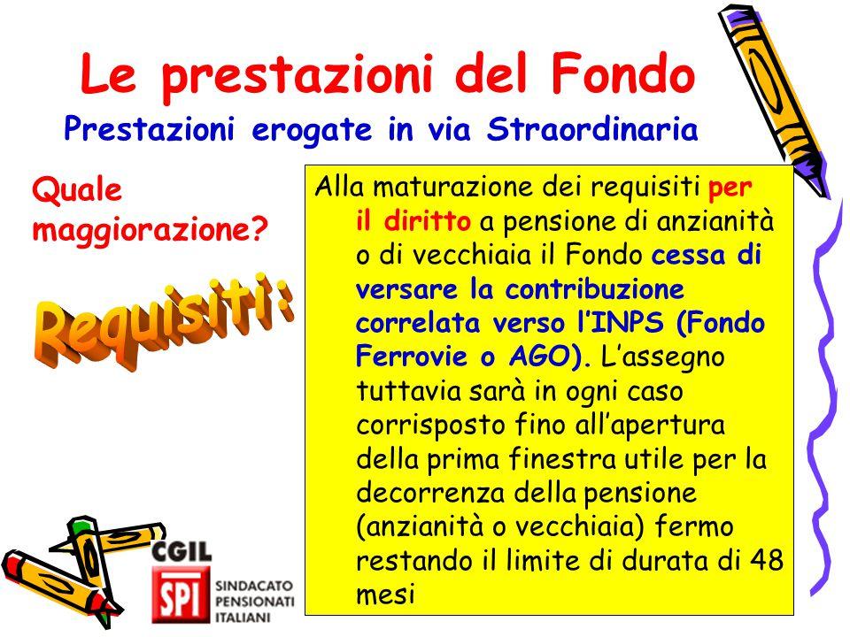 24 Le prestazioni del Fondo Prestazioni erogate in via Straordinaria Alla maturazione dei requisiti per il diritto a pensione di anzianità o di vecchi