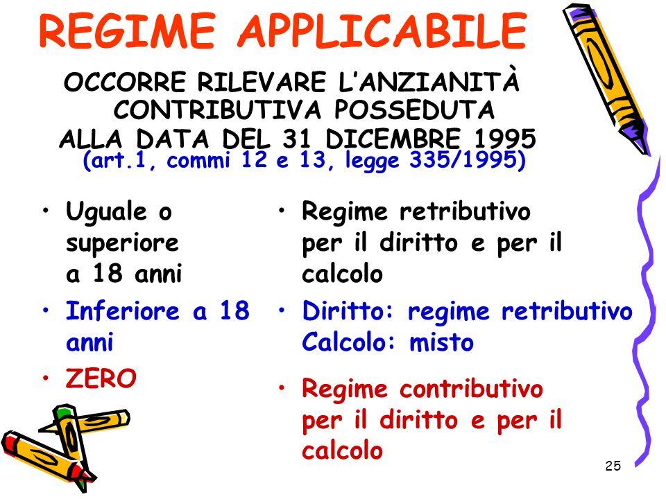 25 REGIME APPLICABILE Uguale o superiore a 18 anni Inferiore a 18 anni ZERO Regime retributivo per il diritto e per il calcolo Diritto: regime retribu