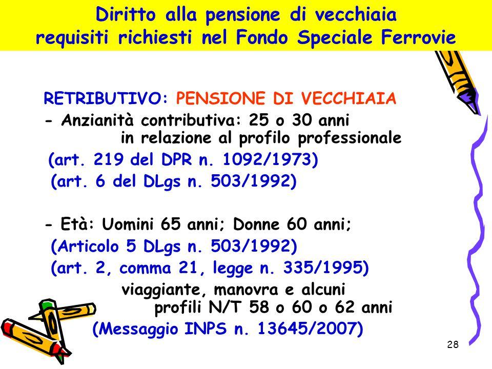 28 Diritto alla pensione di vecchiaia requisiti richiesti nel Fondo Speciale Ferrovie RETRIBUTIVO: PENSIONE DI VECCHIAIA - Anzianità contributiva: 25