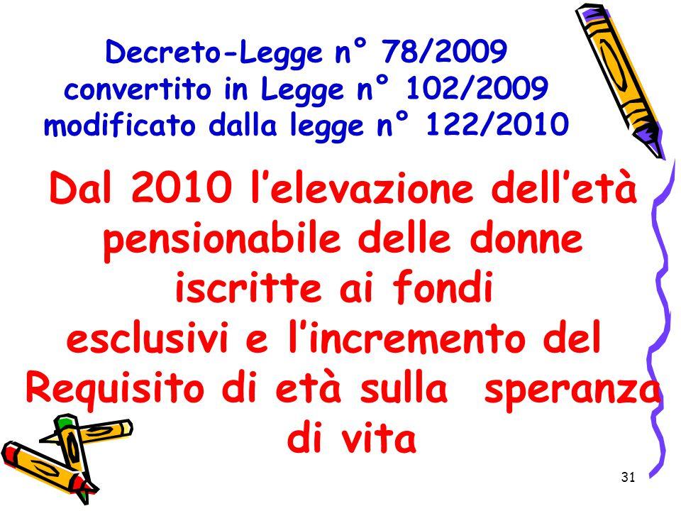 31 Decreto-Legge n° 78/2009 convertito in Legge n° 102/2009 modificato dalla legge n° 122/2010 Dal 2010 l'elevazione dell'età pensionabile delle donne
