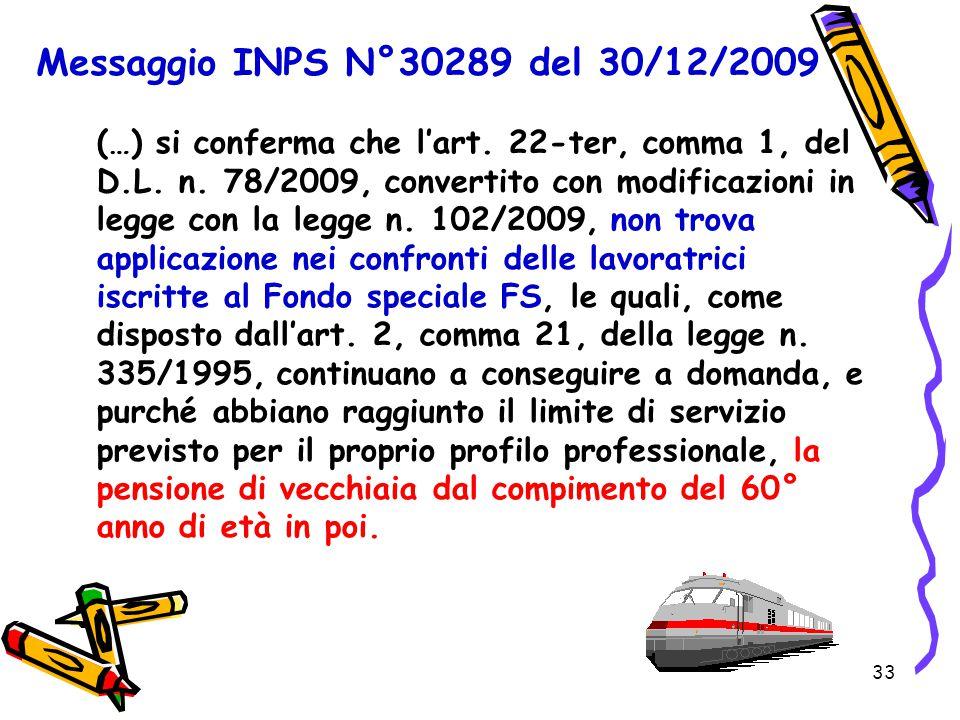 33 Messaggio INPS N°30289 del 30/12/2009 (…) si conferma che l'art. 22-ter, comma 1, del D.L. n. 78/2009, convertito con modificazioni in legge con la