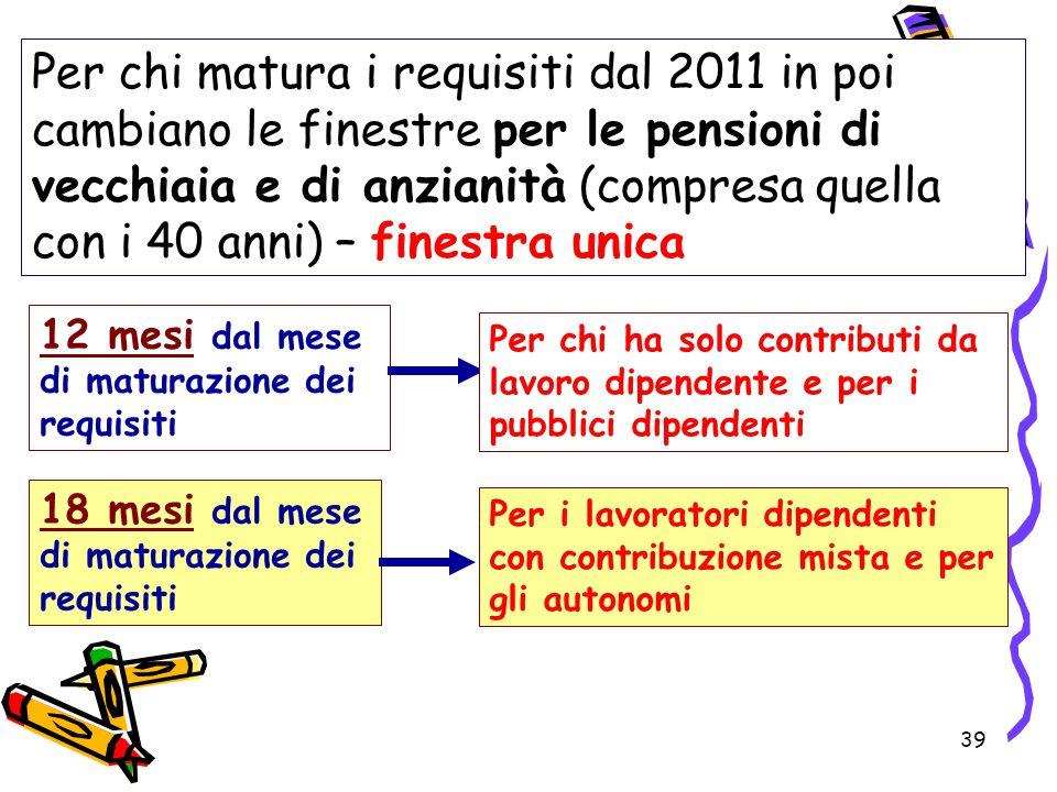 39 Per chi matura i requisiti dal 2011 in poi cambiano le finestre per le pensioni di vecchiaia e di anzianità (compresa quella con i 40 anni) – fines