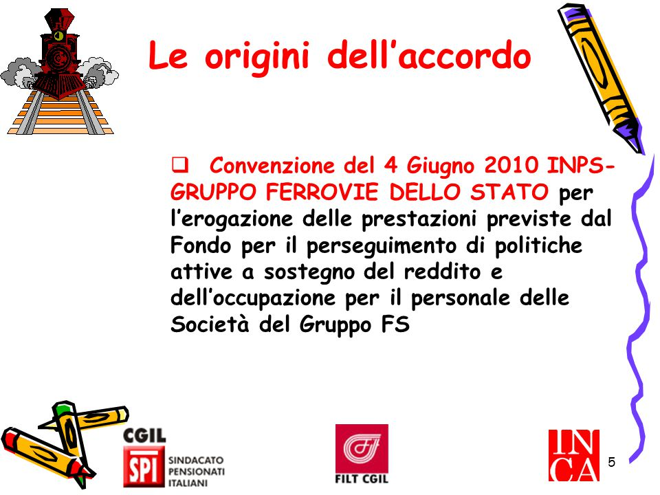 5 Le origini dell'accordo  Convenzione del 4 Giugno 2010 INPS- GRUPPO FERROVIE DELLO STATO per l'erogazione delle prestazioni previste dal Fondo per
