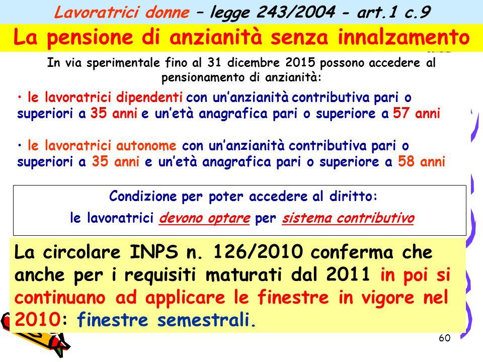 60 La pensione di anzianità senza innalzamento In via sperimentale fino al 31 dicembre 2015 possono accedere al pensionamento di anzianità: le lavorat
