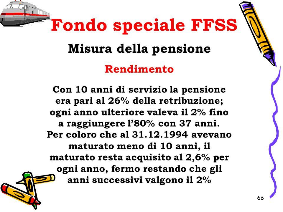 66 Fondo speciale FFSS Misura della pensione Rendimento Con 10 anni di servizio la pensione era pari al 26% della retribuzione; ogni anno ulteriore va