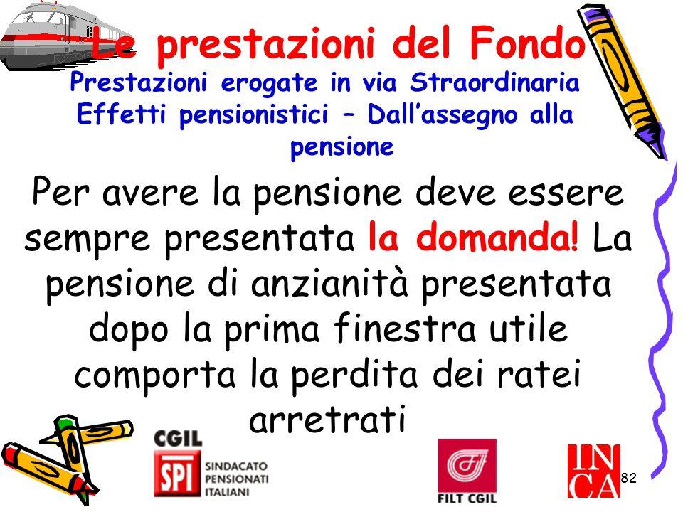 82 Le prestazioni del Fondo Prestazioni erogate in via Straordinaria Effetti pensionistici – Dall'assegno alla pensione Per avere la pensione deve ess