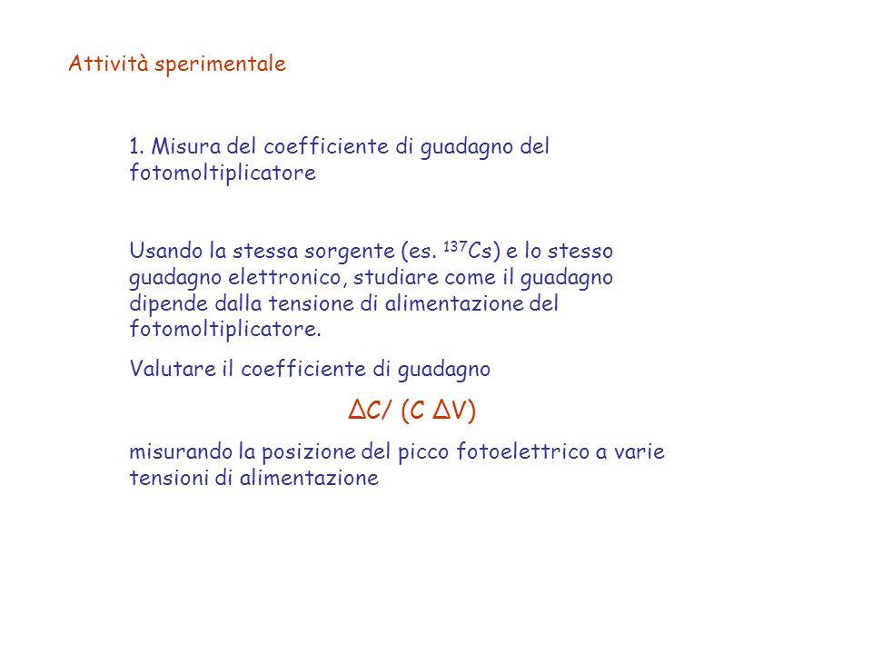 Attività sperimentale 1. Misura del coefficiente di guadagno del fotomoltiplicatore Usando la stessa sorgente (es. 137 Cs) e lo stesso guadagno elettr