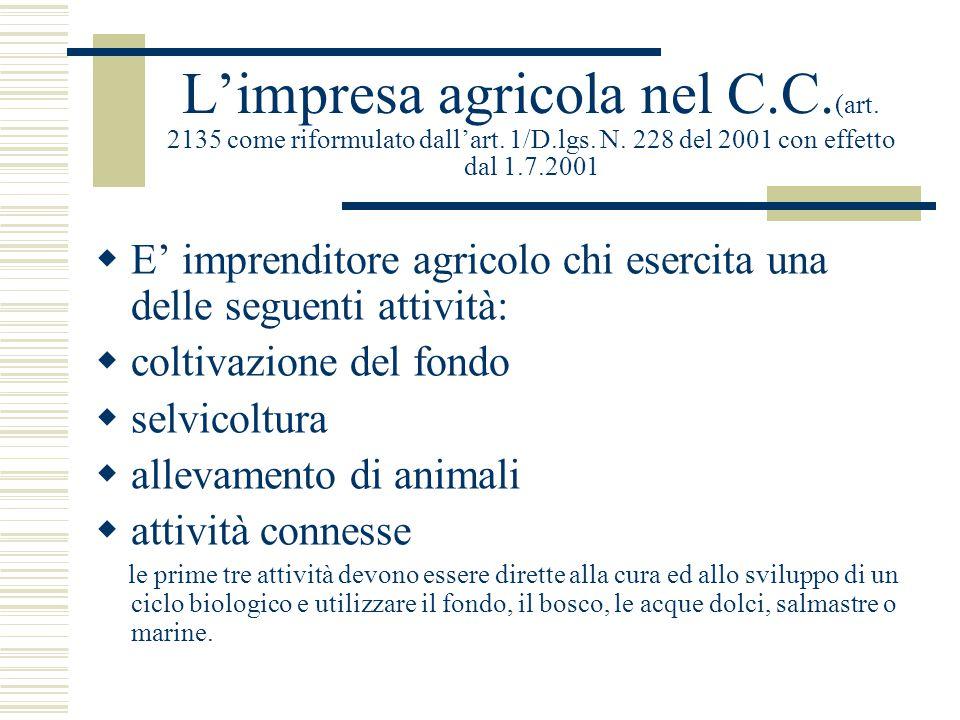 L'impresa agricola nel C.C. (art. 2135 come riformulato dall'art. 1/D.lgs. N. 228 del 2001 con effetto dal 1.7.2001  E' imprenditore agricolo chi ese