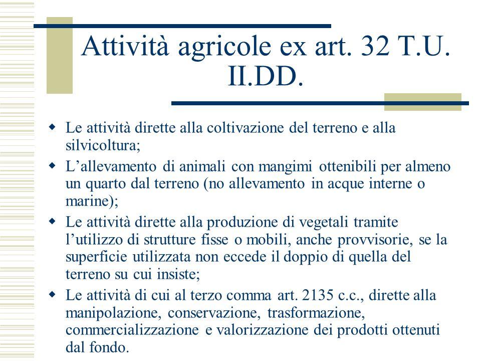 Attività agricole ex art. 32 T.U. II.DD.  Le attività dirette alla coltivazione del terreno e alla silvicoltura;  L'allevamento di animali con mangi