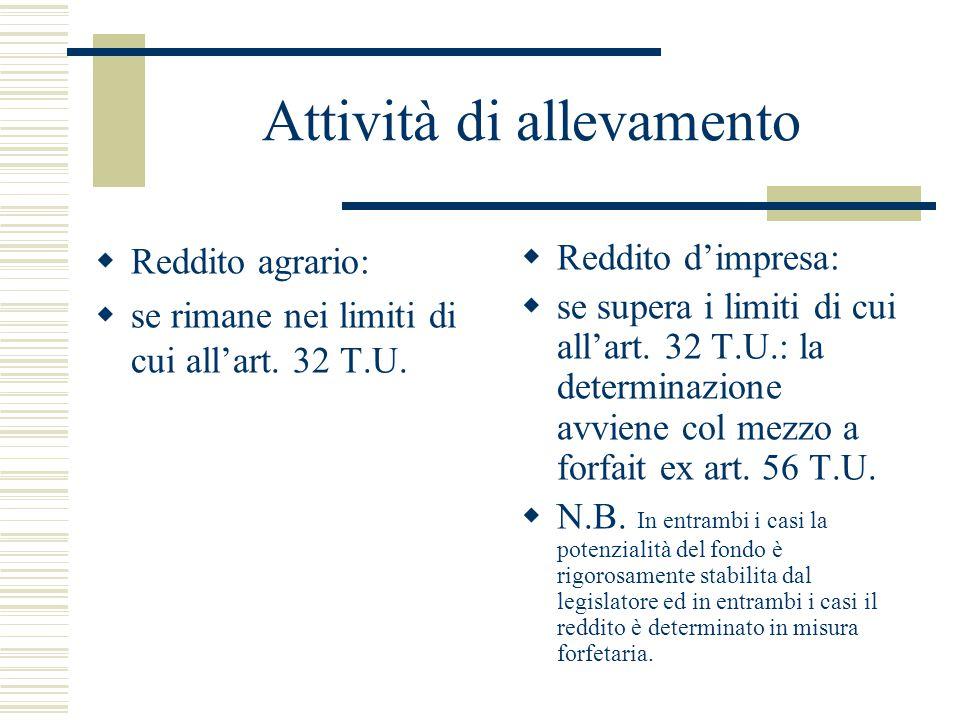 Attività di allevamento  Reddito agrario:  se rimane nei limiti di cui all'art. 32 T.U.  Reddito d'impresa:  se supera i limiti di cui all'art. 32