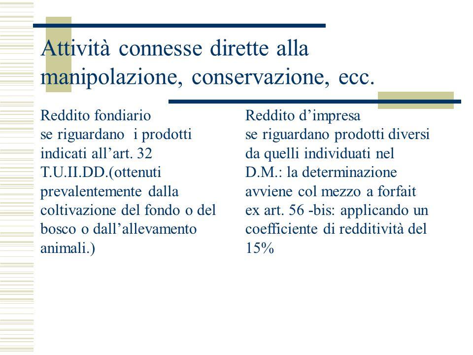 Attività connesse dirette alla manipolazione, conservazione, ecc. Reddito fondiario se riguardano i prodotti indicati all'art. 32 T.U.II.DD.(ottenuti