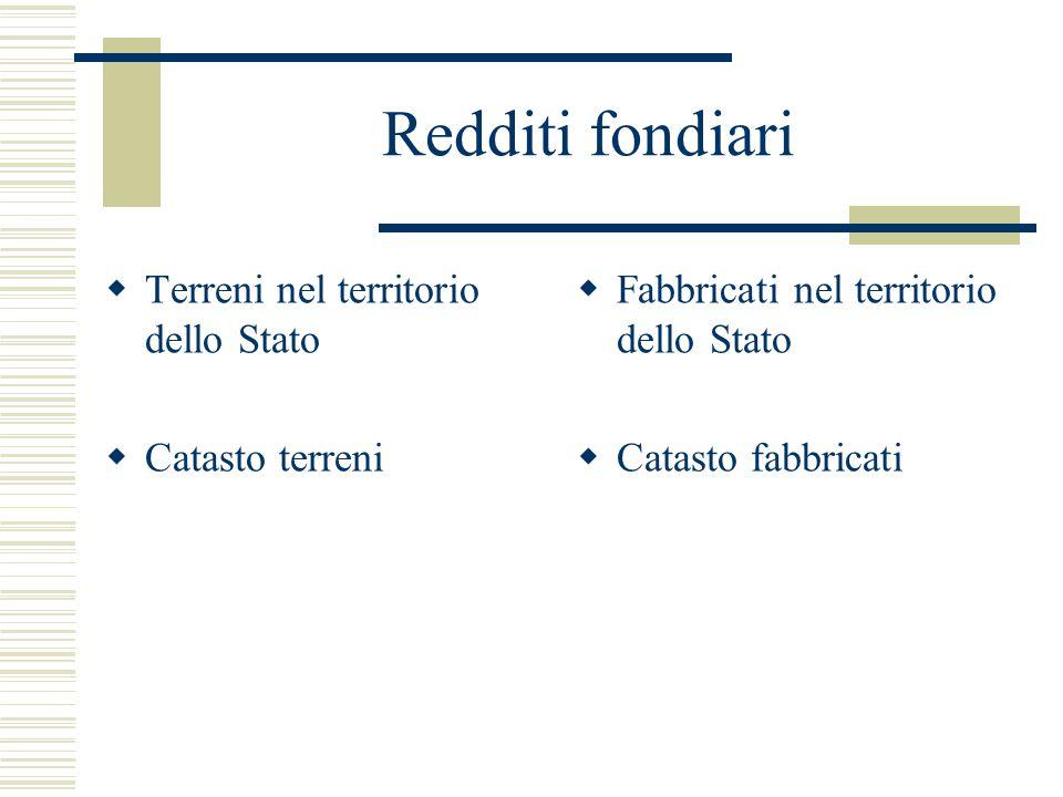 Tassazione forfetaria  Rendita catastale: reddito medio ordinario  Reddito effettivo: è irrilevante (v.