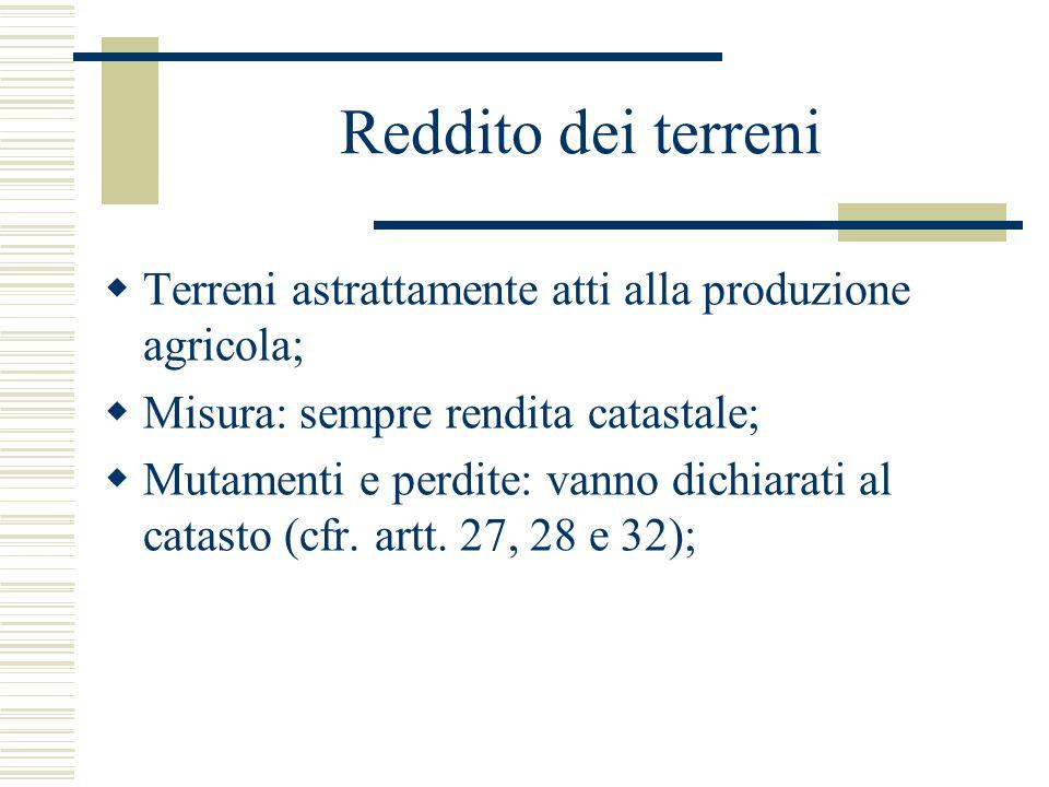 REDDITI FONDIARI Reddito dominicale Il reddito dominicale è costituito dalla parte dominicale del reddito medio ordinario ritraibile dal terreno attraverso l'esercizio delle attività agricole di cui all'art.32 (art.