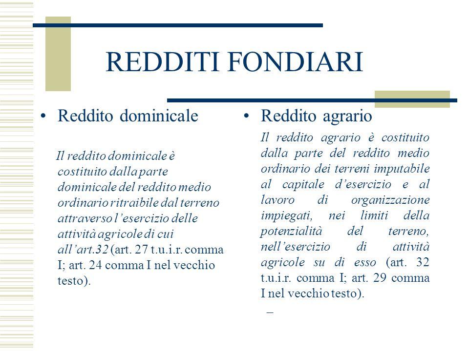 REDDITI FONDIARI Reddito dominicale Il reddito dominicale è costituito dalla parte dominicale del reddito medio ordinario ritraibile dal terreno attra