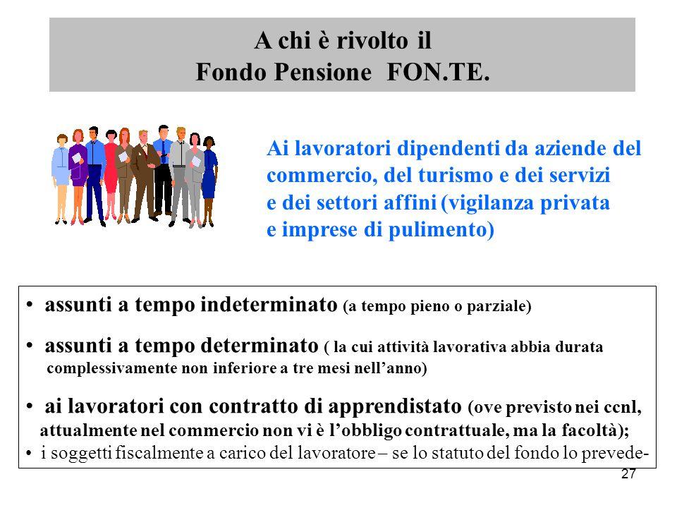 27 A chi è rivolto il Fondo Pensione FON.TE.