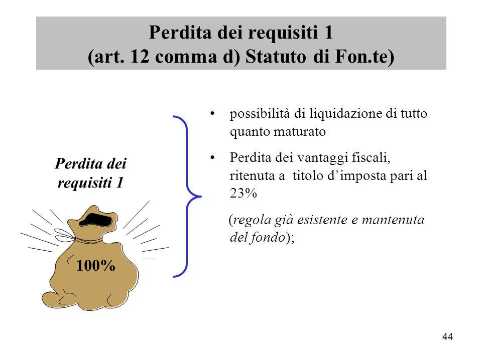 44 possibilità di liquidazione di tutto quanto maturato Perdita dei vantaggi fiscali, ritenuta a titolo d'imposta pari al 23% (regola già esistente e mantenuta del fondo); Perdita dei requisiti 1 (art.