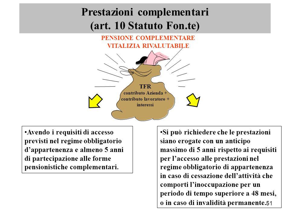 51 TFR contributo Azienda + contributo lavoratore + interessi PENSIONE COMPLEMENTARE VITALIZIA RIVALUTABILE Prestazioni complementari (art.
