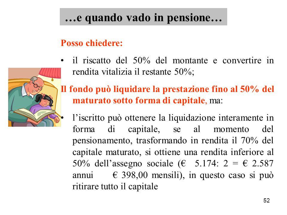 52 Posso chiedere: il riscatto del 50% del montante e convertire in rendita vitalizia il restante 50%; Il fondo può liquidare la prestazione fino al 50% del maturato sotto forma di capitale, ma: l'iscritto può ottenere la liquidazione interamente in forma di capitale, se al momento del pensionamento, trasformando in rendita il 70% del capitale maturato, si ottiene una rendita inferiore al 50% dell'assegno sociale (€ 5.174: 2 = € 2.587 annui € 398,00 mensili), in questo caso si può ritirare tutto il capitale …e quando vado in pensione…