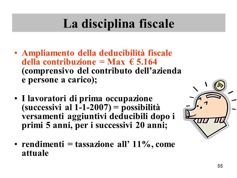 55 La disciplina fiscale Ampliamento della deducibilità fiscale della contribuzione = Max € 5.164 (comprensivo del contributo dell'azienda e persone a carico); I lavoratori di prima occupazione (successivi al 1-1-2007) = possibilità versamenti aggiuntivi deducibili dopo i primi 5 anni, per i successivi 20 anni; rendimenti = tassazione all' 11%, come attuale