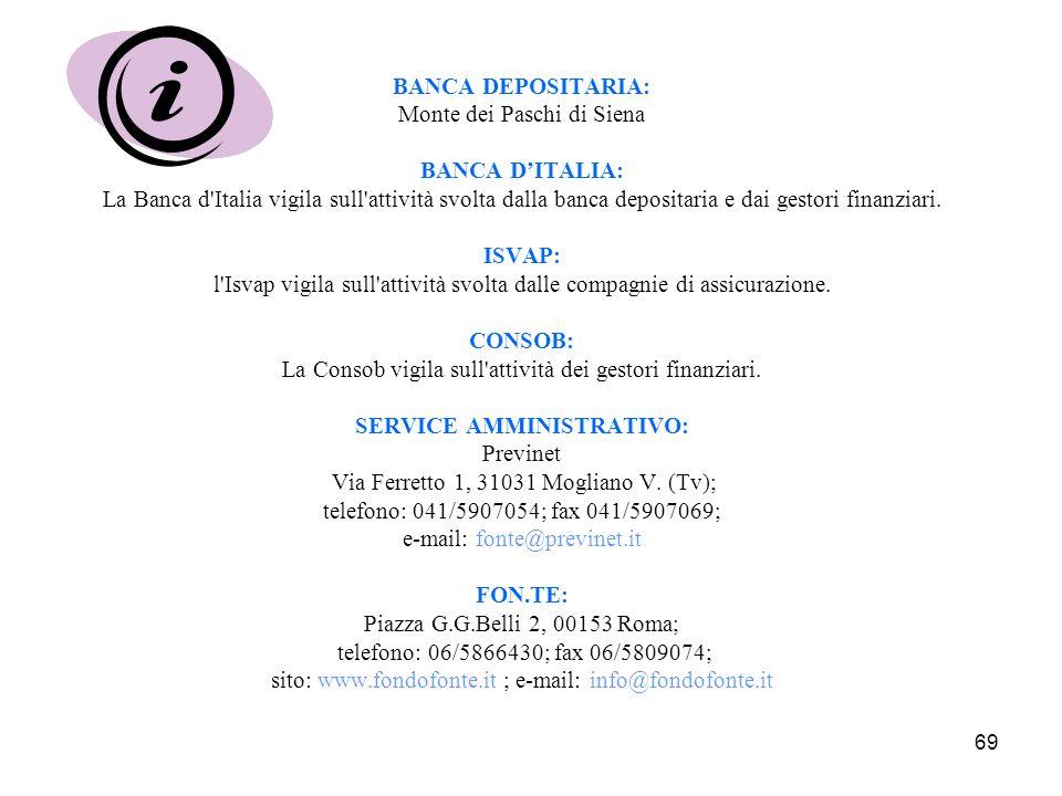 69 BANCA DEPOSITARIA: Monte dei Paschi di Siena BANCA D'ITALIA: La Banca d Italia vigila sull attività svolta dalla banca depositaria e dai gestori finanziari.