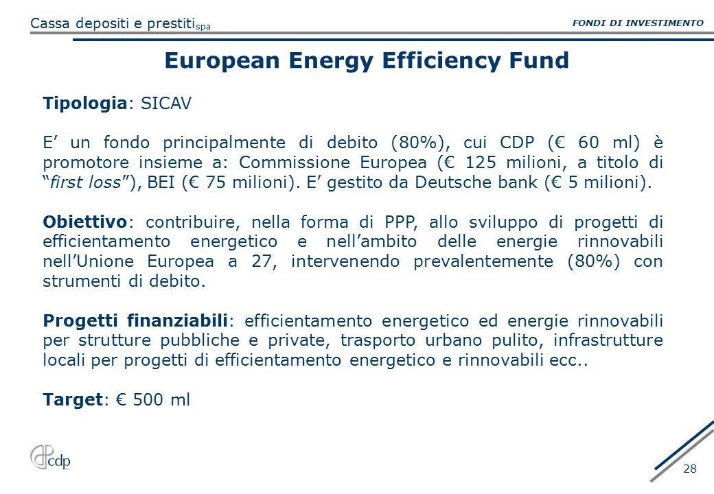 spa Cassa depositi e prestiti 28 European Energy Efficiency Fund Tipologia: SICAV E' un fondo principalmente di debito (80%), cui CDP (€ 60 ml) è prom