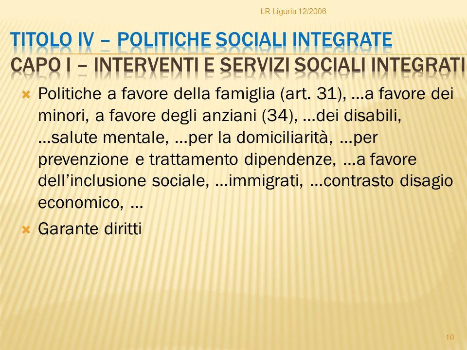  Politiche a favore della famiglia (art. 31), …a favore dei minori, a favore degli anziani (34), …dei disabili, …salute mentale, …per la domiciliarit