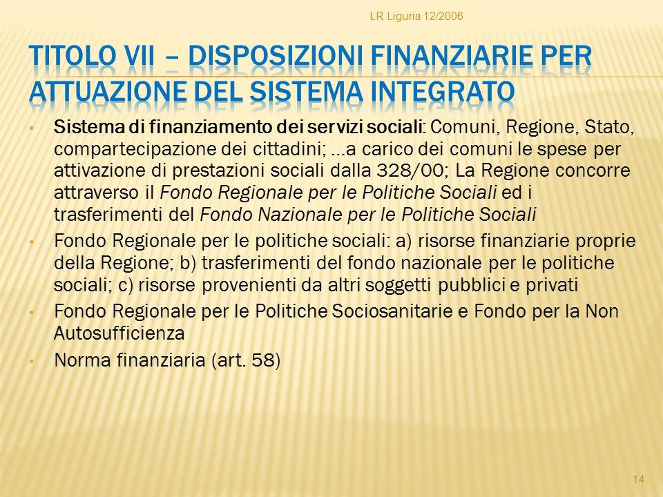 Sistema di finanziamento dei servizi sociali: Comuni, Regione, Stato, compartecipazione dei cittadini; …a carico dei comuni le spese per attivazione d