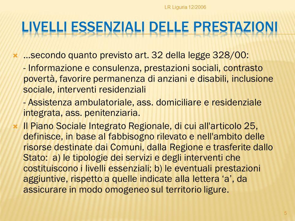  …secondo quanto previsto art. 32 della legge 328/00: - Informazione e consulenza, prestazioni sociali, contrasto povertà, favorire permanenza di anz