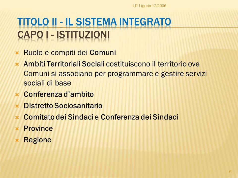  Ruolo e compiti dei Comuni  Ambiti Territoriali Sociali costituiscono il territorio ove Comuni si associano per programmare e gestire servizi socia